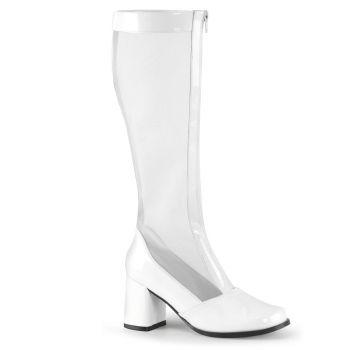 Netz Stiefel GOGO-307 - Lack Weiß*
