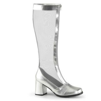 Netz Stiefel GOGO-307 - Lack Silber