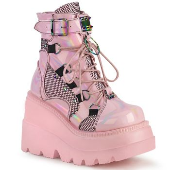 Gothic Ankle Boots  SHAKER-60 - Baby Pink Hologramm