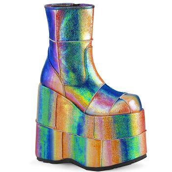 Plateau Ankle Boots STACK-201 - Regenbogen Irisierend
