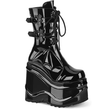 Gothic Plateau Stiefel  WAVE-150 - Lack Schwarz