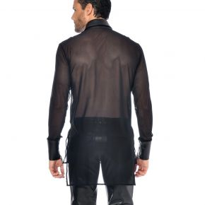 Langarm Mesh Shirt JAYDEN - Schwarz