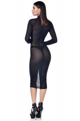 Knielanges Meshkleid AZIA - Herzchen Schwarz*