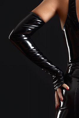 Lange Fingerlose Lack Stulpen - Black