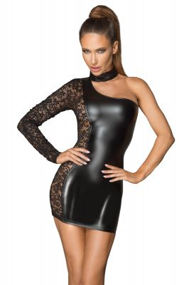 One Sleeve Power Wetlook Minikleid F215